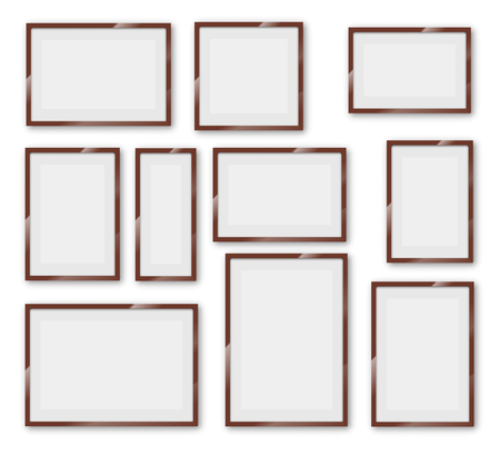 a1: Different sizes and A4, B4, C4 proportion  wooden frames on a white background with thick borders. Vector Illustration set Illustration