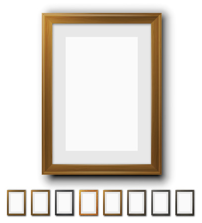 interior decoration: Vector wooden frames for pictures.  Different size and proportion collection Illustration