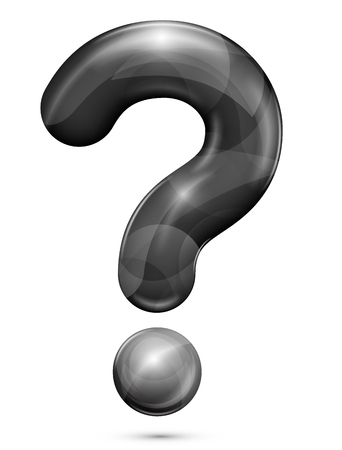 Black glossy realistic question mark sign. Vector illustration