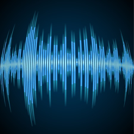 vibrations: Blue sound wave on a dark background