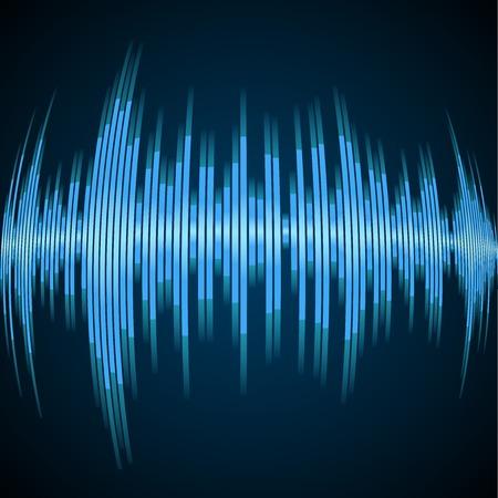 vibrations: Blue sound wave on a dark background