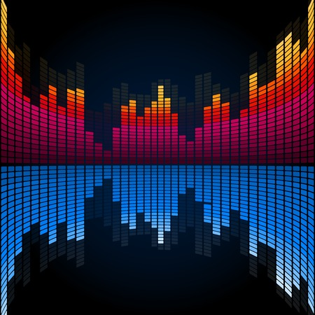 graphic equalizer: Abstract music colored graphic equalizer. Vector template Illustration