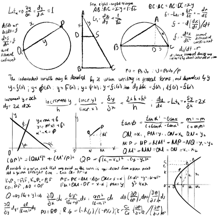 white board: Mathematical trigonometry algebra formulas on white vector background