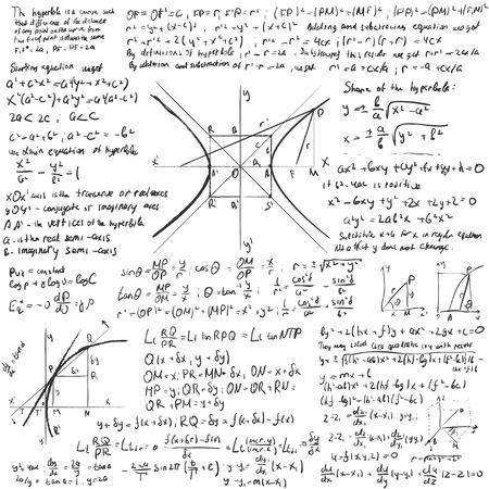 mathematical proof: Mathematical trigonometry algebra formulas on white vector background