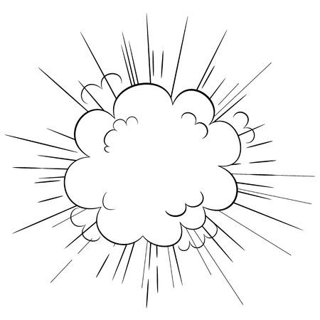 powerful volcano: Cartoon style explosion cloud dynamic blast illustration