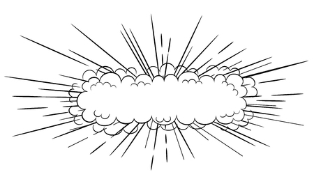 wide: black and white  long slim cartoon comic style explosion cloud blast illustration Illustration