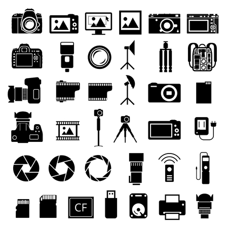 time lapse: Camera and many accessories icons set on white background