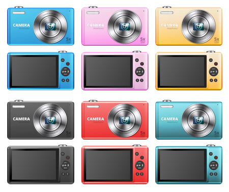 pocket size: Set of small point and shoot digital cameras different colors Illustration