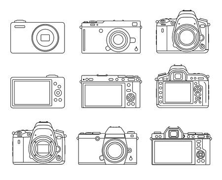 bayonet: Different types camera icons, DSLR, Mirrorless, small illustration set Illustration