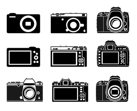 mirrorless camera: Different types camera icons, DSLR, Mirrorless, small illustration set Illustration