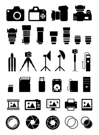 tele: Camera and many photo accessories icons set on white background