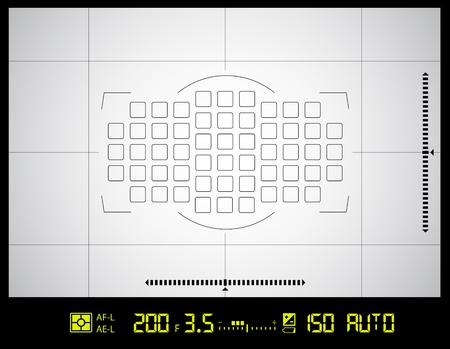 Videocamera zoeker raster-scherm met AF-punt, de belichting en camera-instellingen.