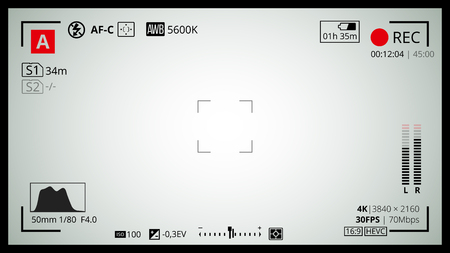 Kamera-Bildschirm mit Full-HD-16x9 und 4k-Videonetz. Die meisten Aufnahmeeinstellungen wie AF Punkt, Belichtung und Kameraoptionen. Die Aufnahme REC-LED blinkte. Standard-Bild - 57963437