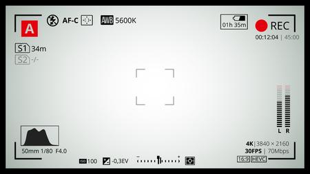 schermo della fotocamera con 16x9 Full HD e la griglia di video 4k. La maggior parte delle impostazioni di scatto come le opzioni di punti AF, esposizione e fotocamera. Registrazione Rec led sbatté le palpebre.