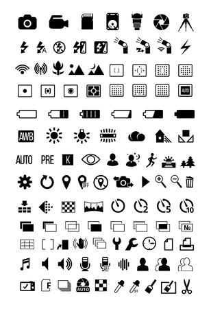 Zdjęcie ustawiania trybu aparatu opcje posiadają symbole ostatecznym duży zestaw ikon.