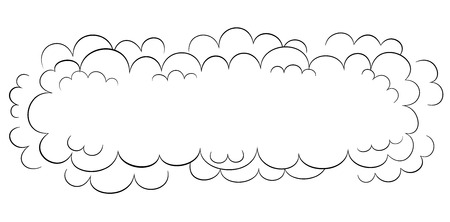 wide: Wide cartoon style black and white cloud Illustration