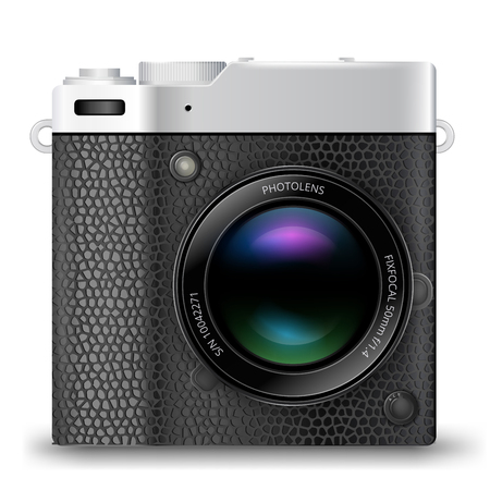 mirrorless camera: detailed retro style mirrorless camera icon with black leather isolated on white background Illustration