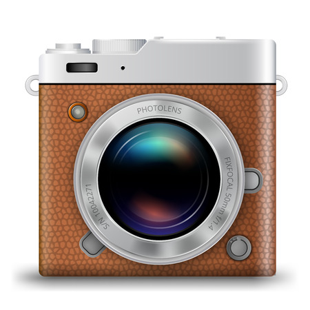 brown leather: Vintage retro style photo camera icon with brown leather, square illustration Illustration