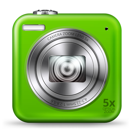 point and shoot: detailed easy bright green colored point and shoot camera icon isolated on white background