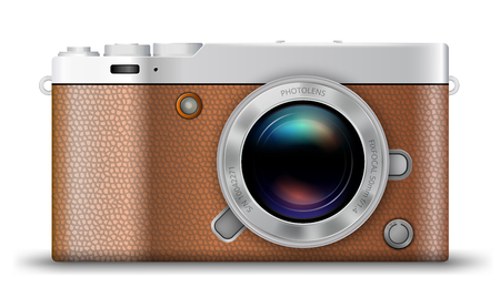 mirrorless camera: detailed retro style mirrorless camera icon with brown leather isolated on white background