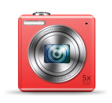 point and shoot: detailed easy bright red colored point and shoot camera icon isolated on white background