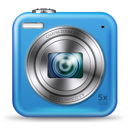 point and shoot: detailed easy bright blue colored point and shoot camera icon isolated on white background