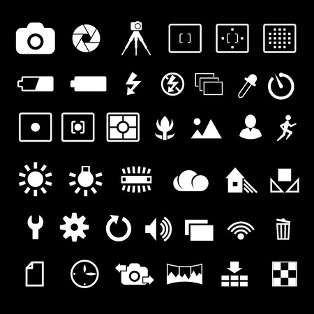evaluative: Camera options symbols settings and parameters icon set