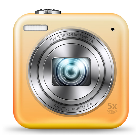 point and shoot: detailed easy bright yellow colored point and shoot camera icon isolated on white background