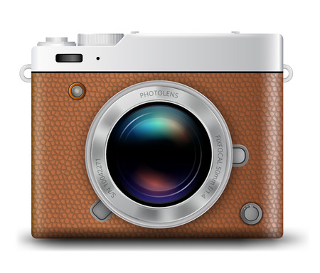 brown leather: Brown Leather Camera Body with Lens realistic vector icon on white background Illustration