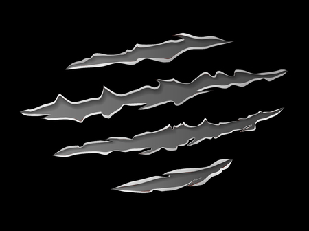 Claws scratching animal trails metal gray under skin vector illustration with black dark background