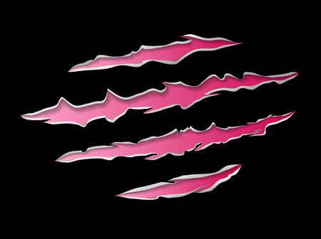 tearing: Monster or animal claws damage metal torn pink red on black background, vector illustration Illustration