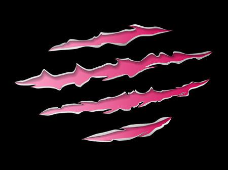 torn metal: Monster or animal claws damage metal torn pink red on black background, vector illustration Illustration