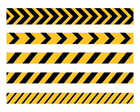Vector set of Danger and Police Tape Lines for restriction and dangerous zones, construction site