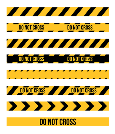 crime scene do not cross: Vector set of Danger and Police Tape Lines for restriction and dangerous zones
