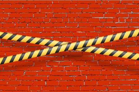 danger do not cross: Rust aged grungy brick wall vector background with danger do not cross police tapes