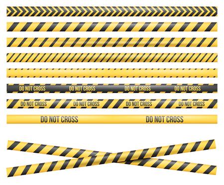 police line do not cross: Police Line, Crime Scene, Do Not Cross, Construction Site and Danger Tape. Set of Vector Seamless Tile Illustrations