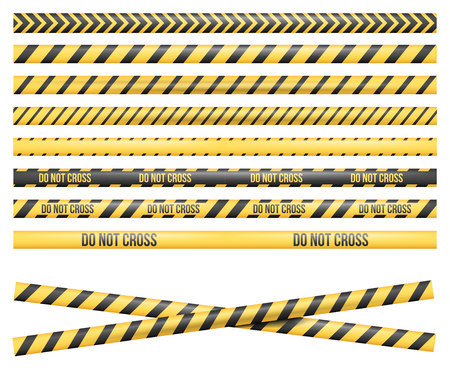 Police Line, Crime Scene, Do Not Cross, Construction Site and Danger Tape. Set of Vector Seamless Tile Illustrations