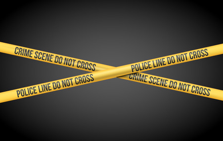 the fbi: Vector illustration with Police Line Do Not Cross and Crime Scene title on Yellow Tape
