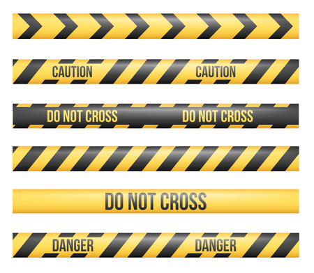 crime scene do not cross: Vector set of seamless Danger and Police Tape Lines for restriction and dangerous zones, construction site, crime places