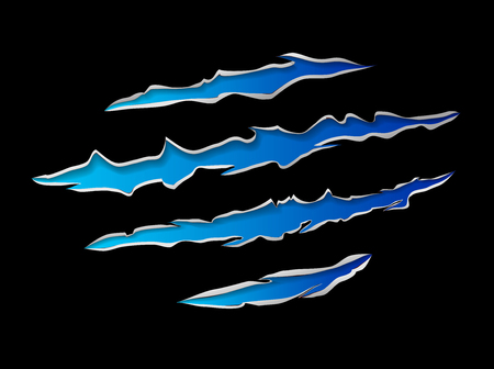 tearing: Monster or animal claws damage metal torn blue on black background, vector illustration Illustration