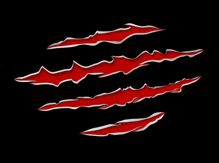 shred: Monster or animal claws damage metal torn on black background, vector illustration Illustration