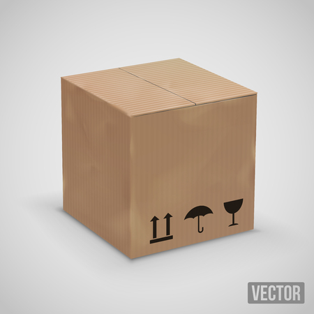 squashed: Old cardboard brown box, vector illustration