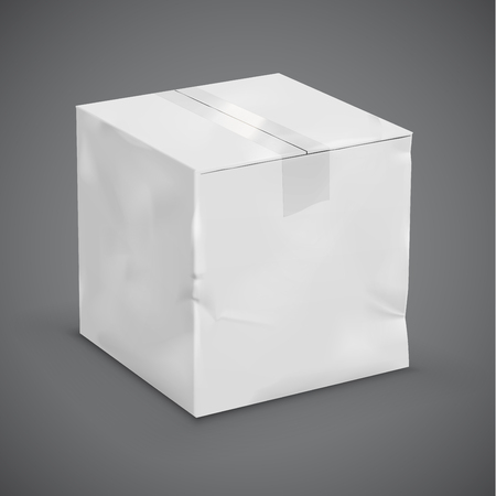 glued: White worn parcel box with a duct tape. Vector illustration