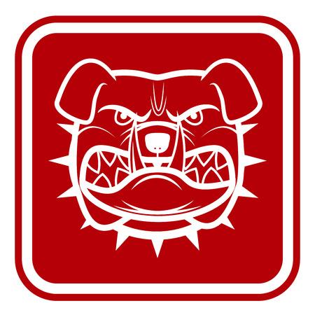 prohibido el paso: Cuidado con el perro rojo Muestra del peligro.