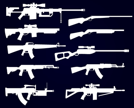 armament: Gun shapes black icon vector set with rifles and pistol