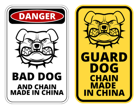 humorous: Bad Dog, Chain made in China. Humorous Comic  Signs. Vector Illustration Illustration