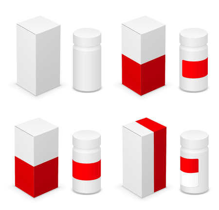 placebo: White medical bottle container and red design templates on white background. Vector illustration Illustration