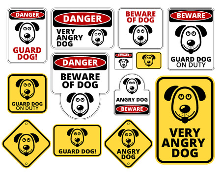 beware dog: Danger Dog Signs Humorous Comic Labels and Plates Collection. Illustration