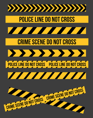 trespassing: Vector set of Danger and Police Tape Lines for restriction and dangerous zones, construction site, crime places