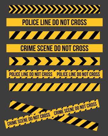 dangerous construction: Vector set of Danger and Police Tape Lines for restriction and dangerous zones, construction site, crime places